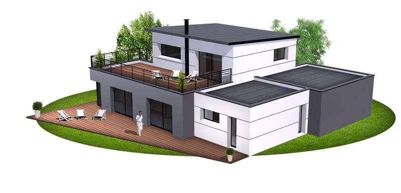 Maison contemporaine 1 constructeur de maison haut de for Maison moderne finistere