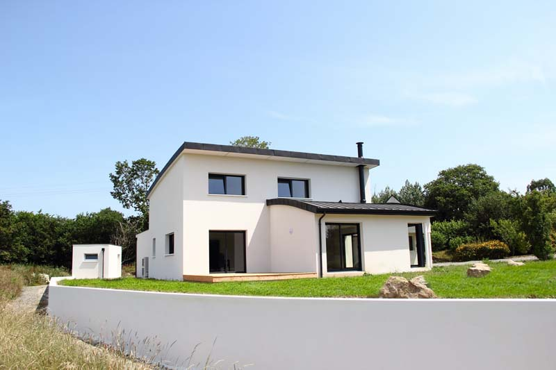 Maison contemporaine toiture cintr e for Toiture maison contemporaine